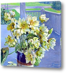 Картина Цветущий лотос на веранде