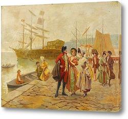 Картина художника XIX века, порт, мужчина, женщина