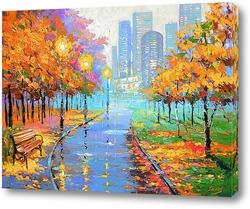 Картина Осень в большом городе