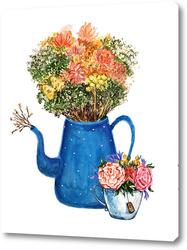 Картина Букет цветов в чайнике, милый букет