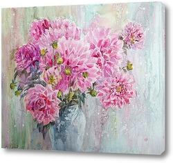 Розовые георгины