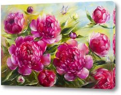 Картина Яркие розовые пионы