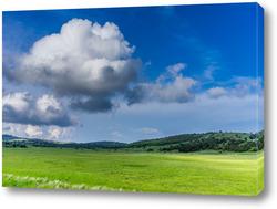 Картина Пейзаж с холмистым рельефом и зеленой травой.
