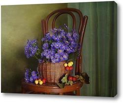 Картина Натюрморт скромных Сентябрин в лукошке и яблоками дичками