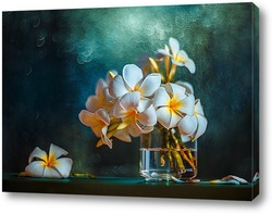 Картина Букет плюмерий на фоне боке