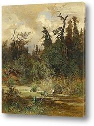 Картина Летом в лесистой местности