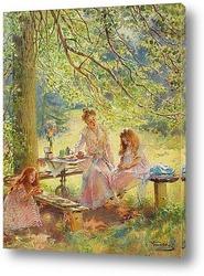 Картина Портрет жены художника и их дочек Ольги и Марины