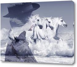 Картина Девушка и лошади