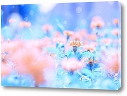 Картина Полевые цветы васильки на голубом фоне