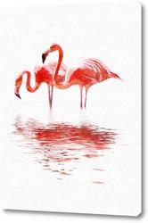 Постер Пара фламинго
