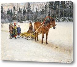 Картина Зимние сани с детьми, 1940