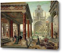 Дворцовая архитектура с прогуливающимися