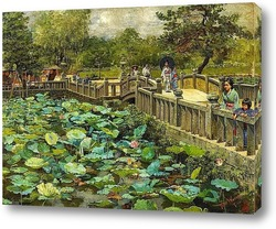 Картина Пруд с лотосами, Сиба, Токио