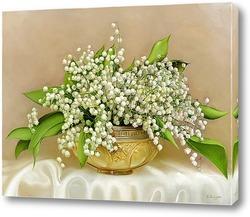 Картина Ландыши в хрустальной вазе