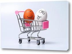 Картина куриные яйца на белом фоне