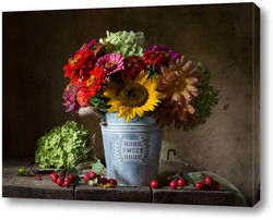 Картина Натюрморт с осенними цветами
