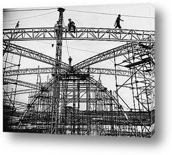 Картина Сборка купола для проведения фестиваля,1951г.
