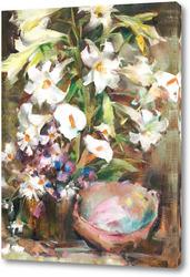 Картина Лилии и раковина ( по Фешину)
