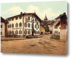 Картина Обераммергау, Верхняя Бавария, Германия. 1890-1900 гг