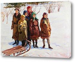 Картина Дети с санками