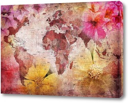 Картина Карта и цветы