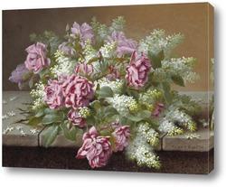 Натюрморт с розовыми розами и сиренью