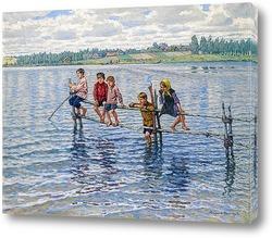 Картина Дети у озера