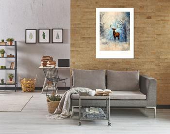 Модульная картина Олень в зимнем лесу