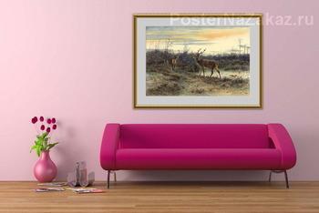 Модульная картина Олень в лесу Фонтенбло