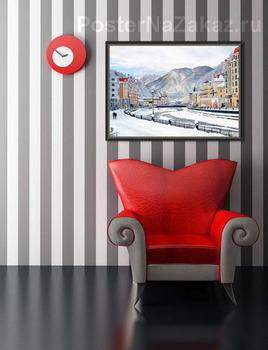 Модульная картина Роза Хутор. Горнолыжный курорт вблизи города Сочи. Набережная зимой.