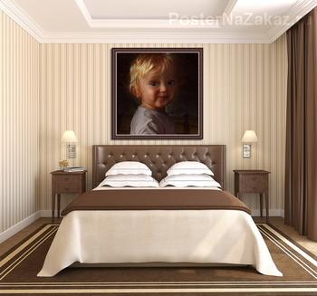 Модульная картина Portrait of a little girl sitting near the window.