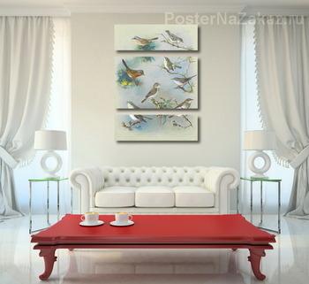 Модульная картина Певчая птица и Крапивники