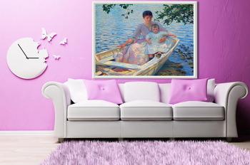 Модульная картина Мать и ребенок в лодке