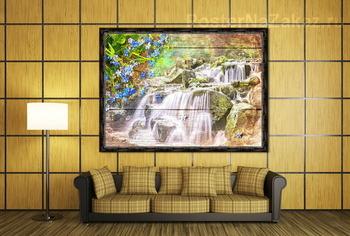 Модульная картина Водопад и синие цветы