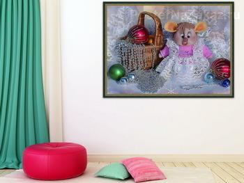 Модульная картина Новогодняя композиция с крыской Лариской и елочками игрушками