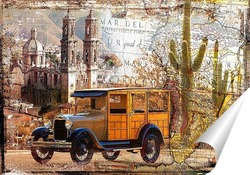 Постер Ретро машина и Мексика