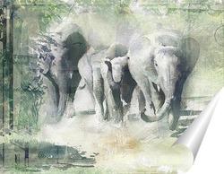 Постер Слоны на прогулке