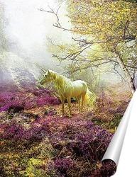 Постер Единорог в лесу
