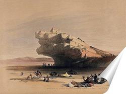 Постер Старинная каменная сторожевая башня с видом на долины Эль-Гор и Акаба