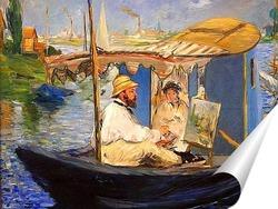 Постер Моне рисует в лодке