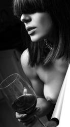 Постер Девушка с бокалом вина