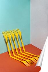 Постер Очень простой натюрморт с жёлтыми вилками