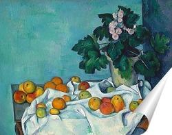 Постер Натюрморт с яблоками и горшком с примулой