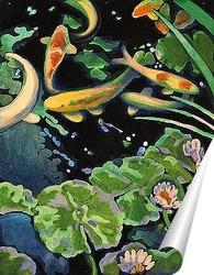 Постер Пруд с золотыми рыбками.