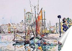 Постер Дома и лодки в Ла Рошель.