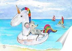 """Постер Картина """"Мышка на море"""" станет чудесным украшением вашего интерьера, будь то гостиная, спальня, детская или офис. Картина будет радовать Вас и приносить удачу!"""