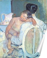 Постер Сидящая женщина с ребенком и его рукой