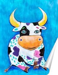 Постер Бык на синем фоне