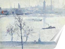 Постер Темза с храмом, Лондон, 1917