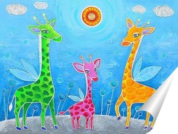 Постер Семья жирафов